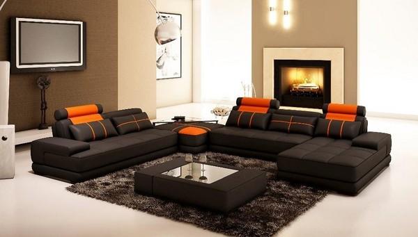 Черный модульный диван
