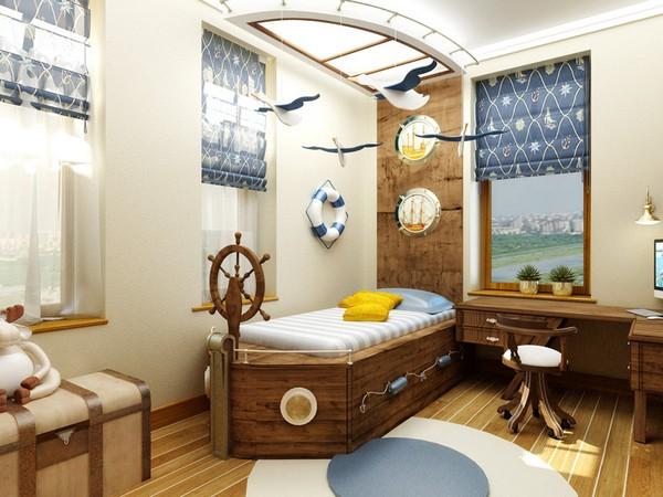 Кровать-корабль в детской комнате