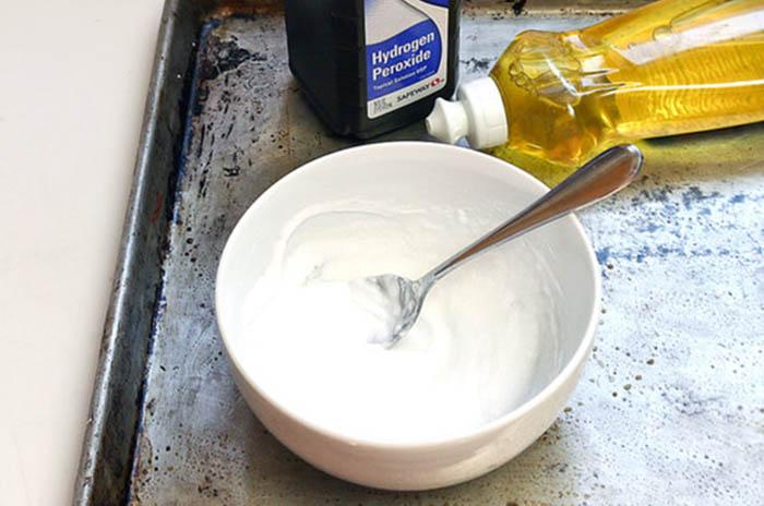 Перекись водорода и средство для мытья посуды