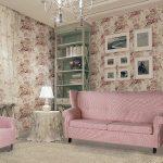 Розовые диван и кресло