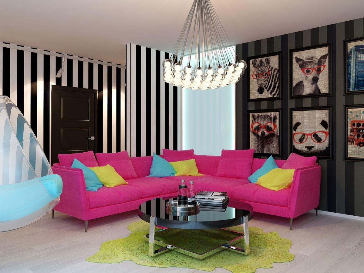 Розовый диван в стиле поп-арт