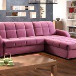Розовый угловой диван