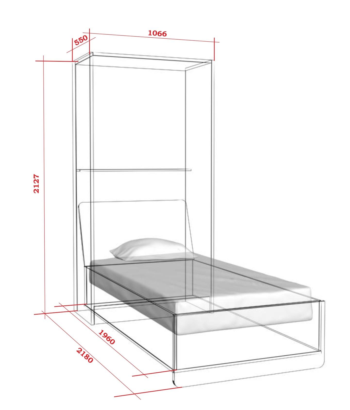 Шкаф-кровать с подъемным механизмом односпальная