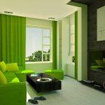 Салатовый диван и салатовые шторы