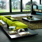 Салатовый диван в интерьере хай-тек