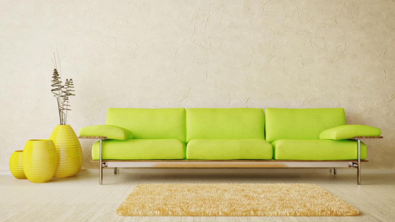 Салатовый диван в стиле минимализм