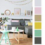 Серый диван и палитра для интерьера в скандинавском стиле