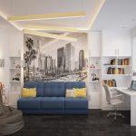Синий диван в интерьере детской
