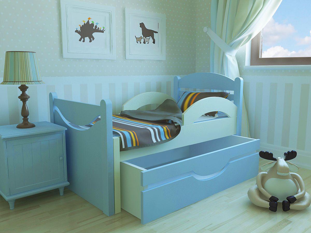 Синяя кровать для детей