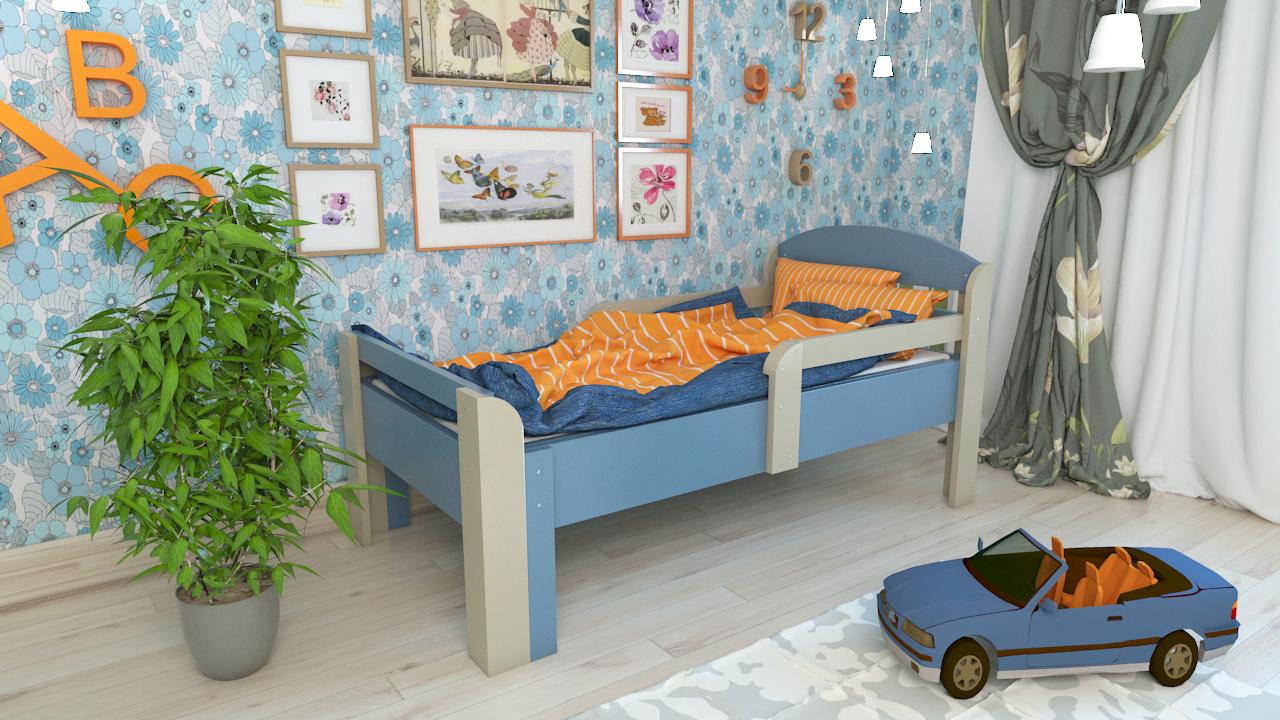 Синяя кровать в детскую комнату