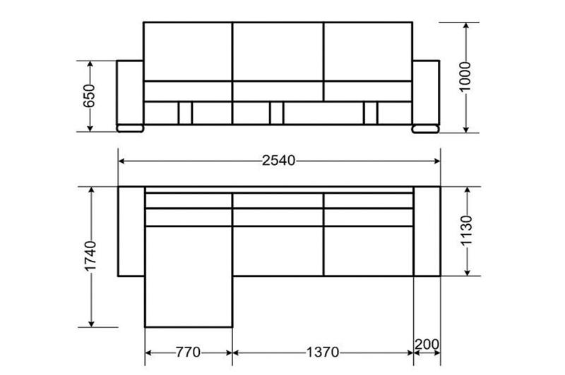 Угловой диван с размерами