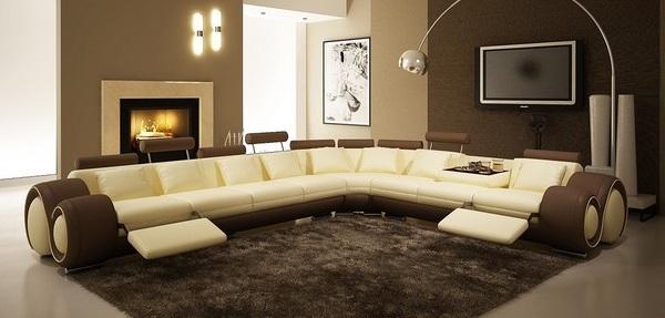 Большой угловой диван из кожи