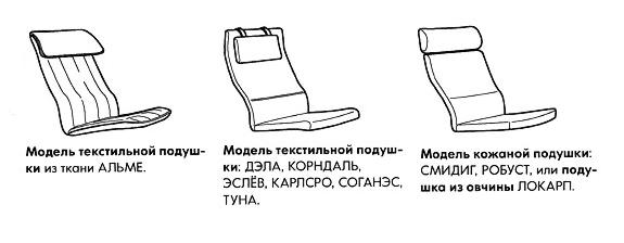Варианты подушки кресла Поэнг
