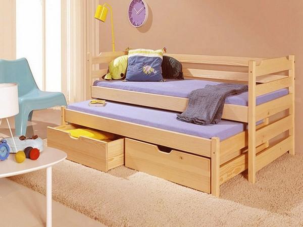 Детская кровать с выдвижными ящиками и выкатной кроватью