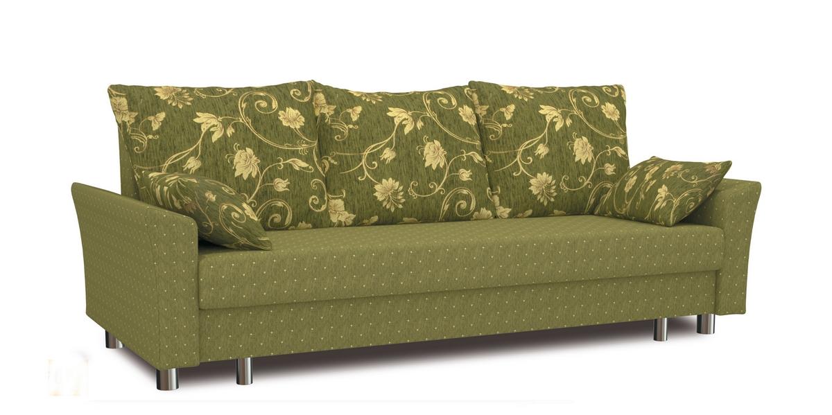 Зеленый диван из шенилла