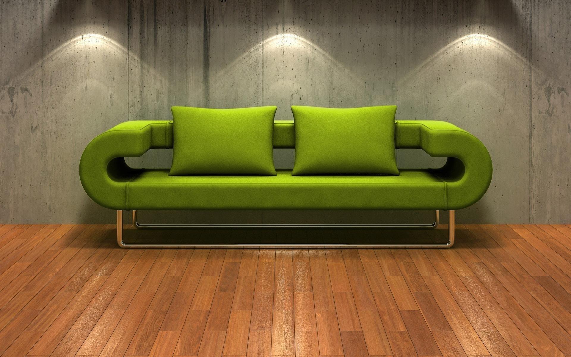 Зеленый диван с стиле хай-тек