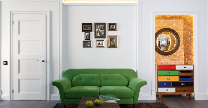 Зеленый диван в стиле фьюжн