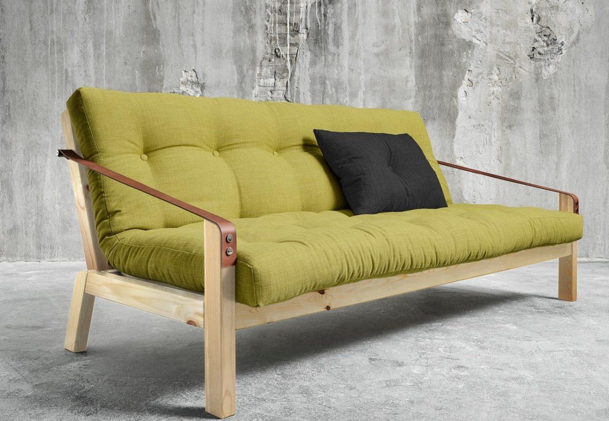 Зеленый диван в стиле лофт