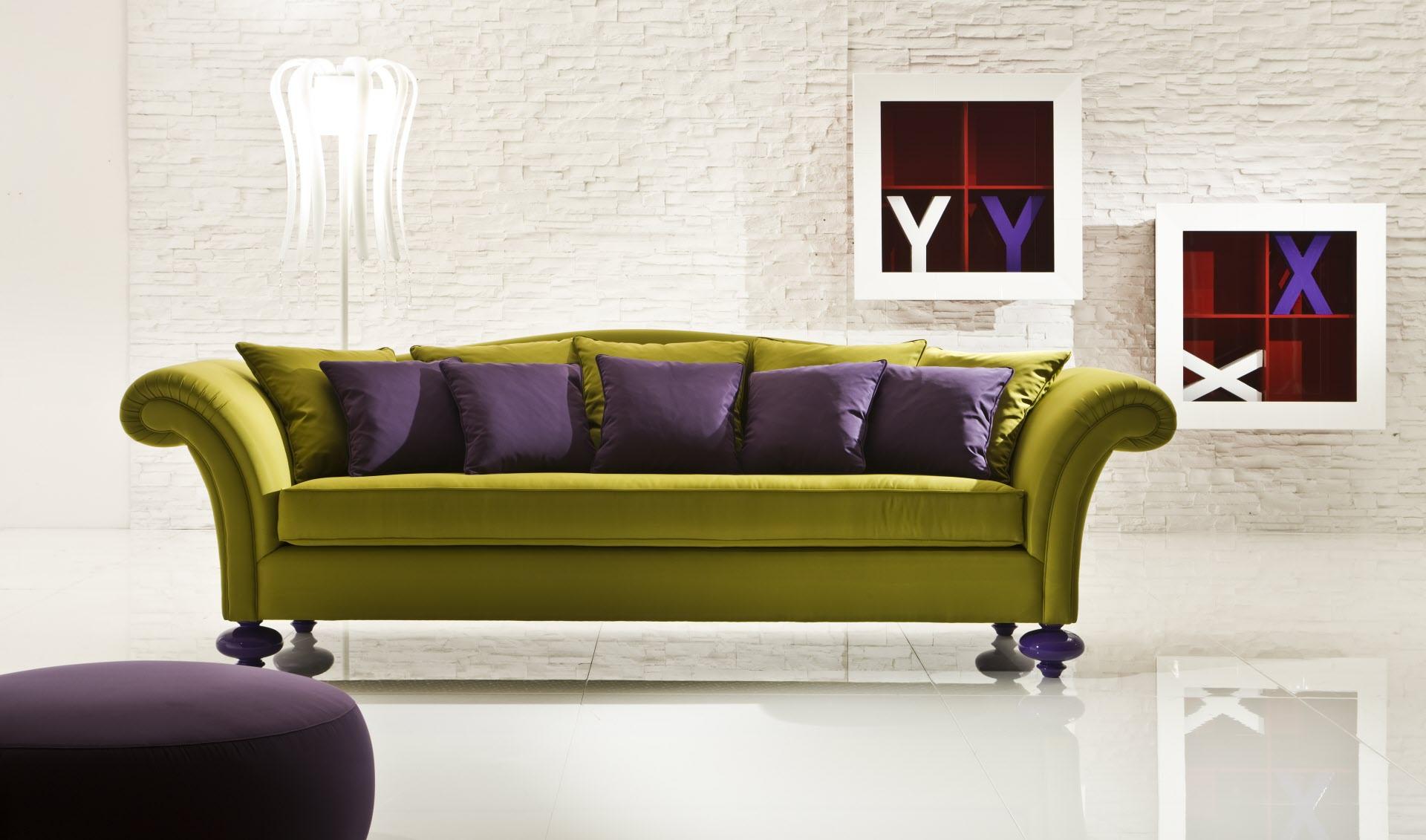 Зеленый диван в стиле поп-арт