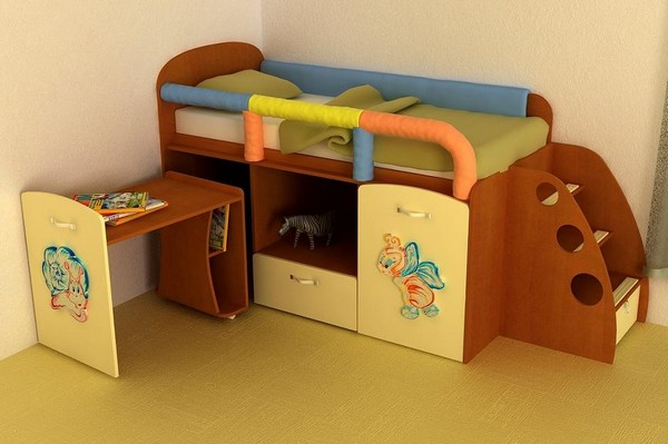 Детская кровать с ящиками, которые выкатывается в обе стороны