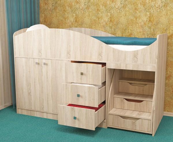 Детская кровать с лесенкой и выдвижными ящиками