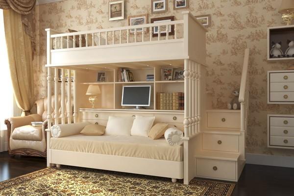 Двухъярусная кровать в классическом стиле