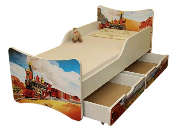 Кровать Поезд с ящиками