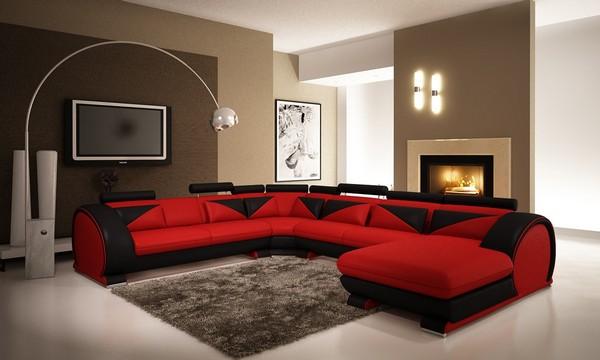 Угловой диван красно-черного цвета