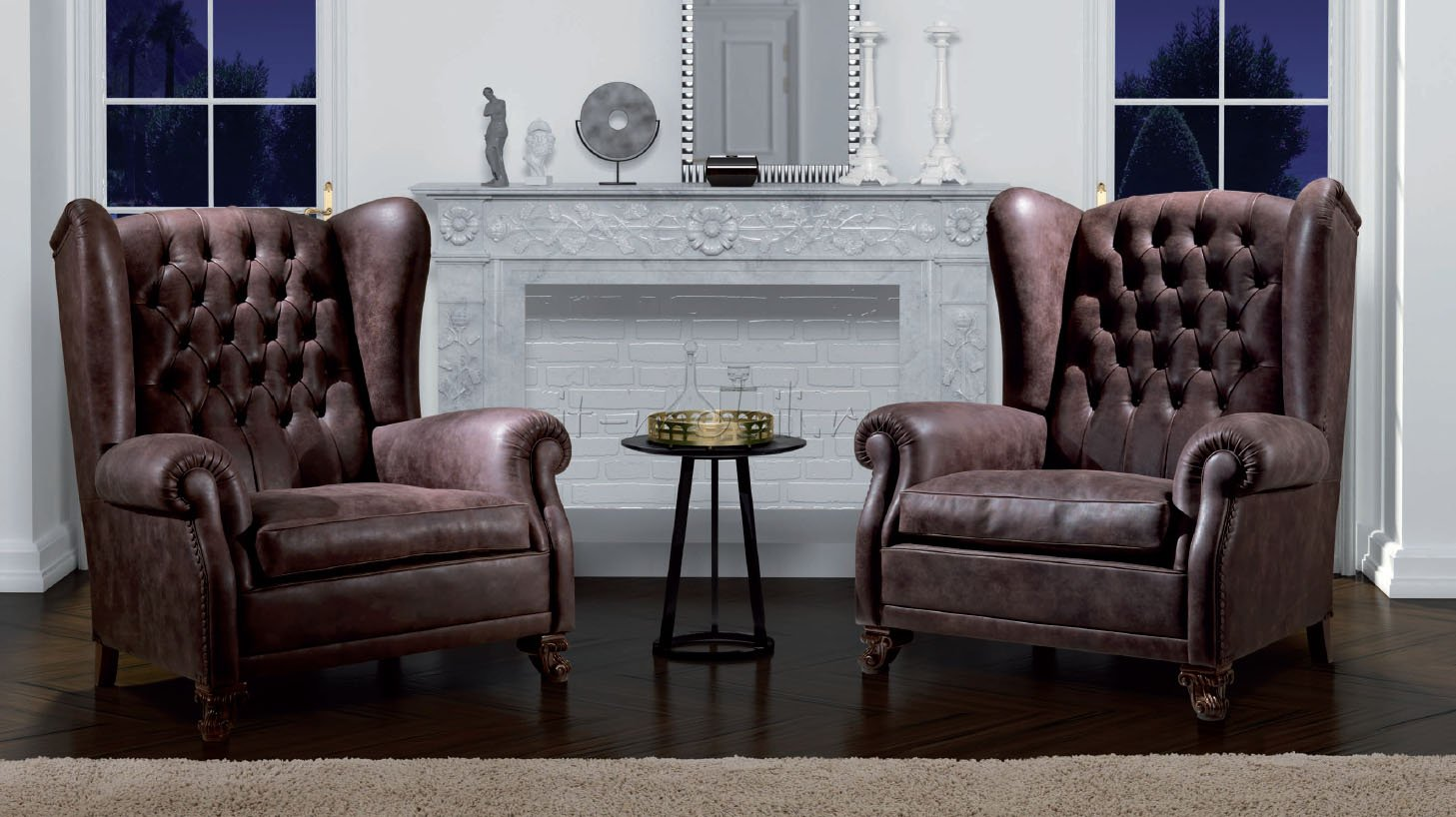 Кожаное каминное кресло