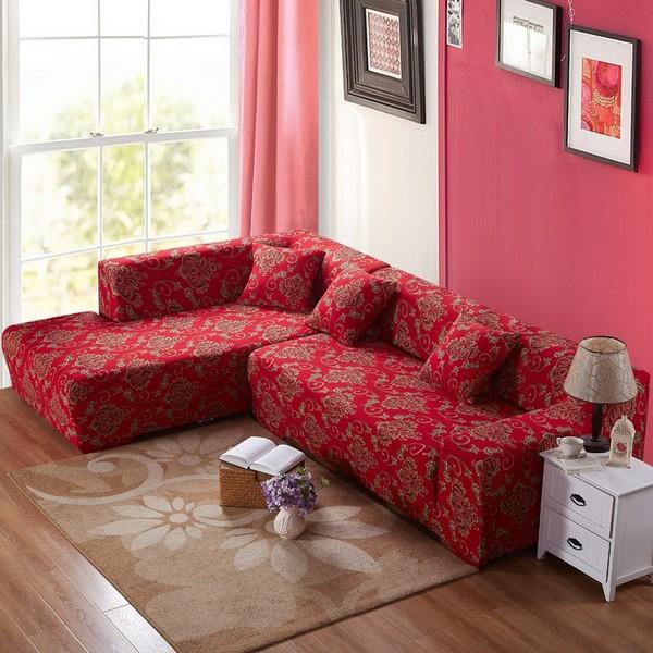 Угловой диван из жаккарда