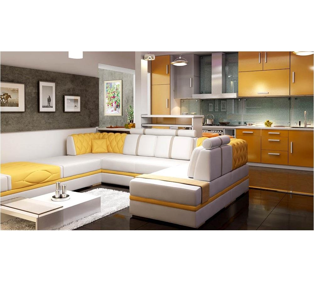 Белый диван с желтыми вставками-101
