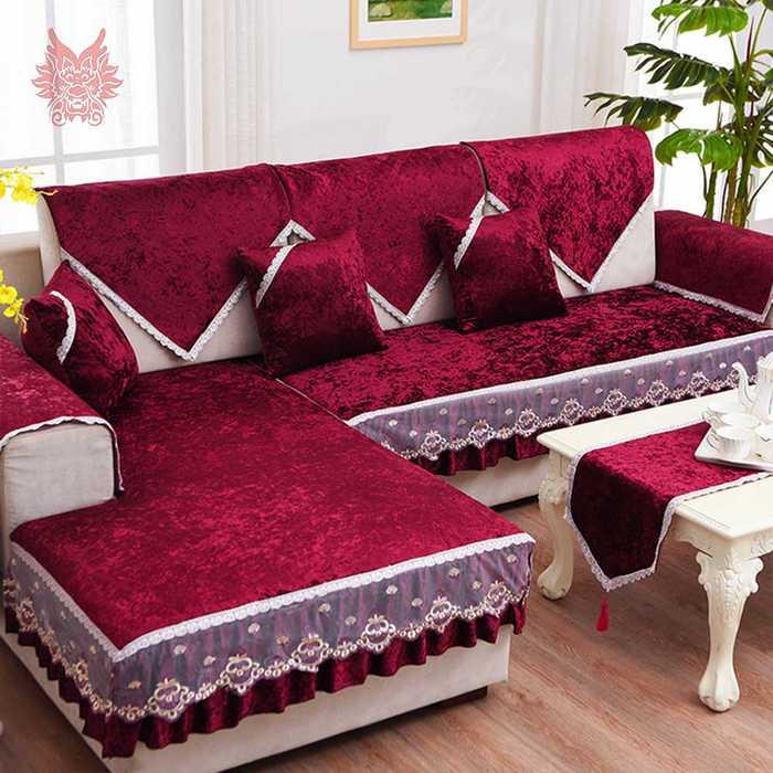 Бархатная накидка на угловой диван