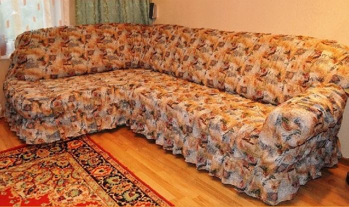 Гобеленовое покрывало на угловой диван