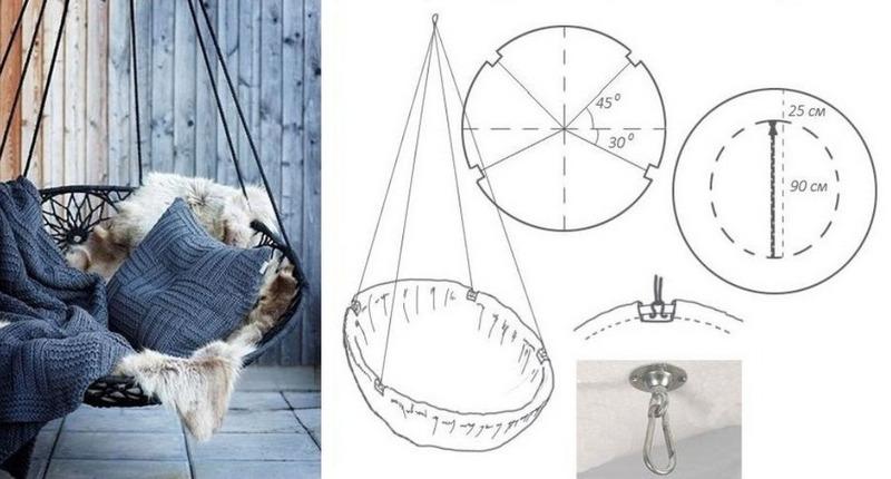 Схема круглого подвесного кресла