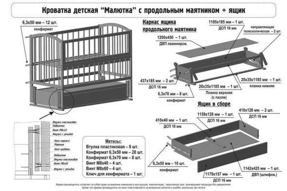 детская кроватка инструкция по сборке
