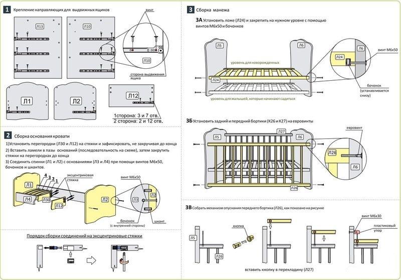 сборка кроватки трансформер
