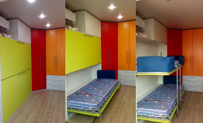 Кровать-шкаф зеленая