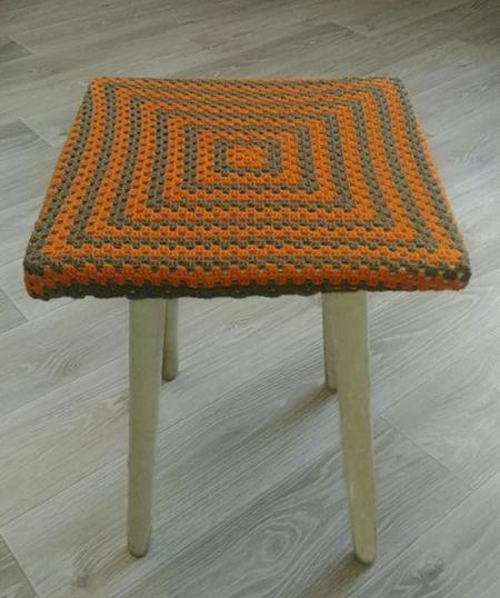 вязание крючком накидки на стулья и табурет схемы с описанием