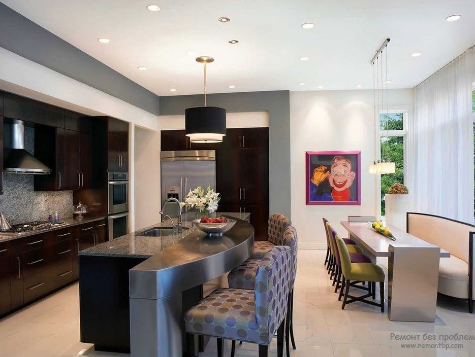 Окрашенные стены кухни в интерьере фото