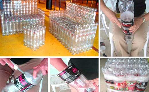 Как сделать кресло из пластиковых бутылок поэтапно с фото