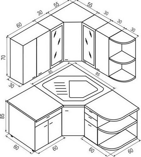 Кухонный гарнитур из дерева чертежи и схемы