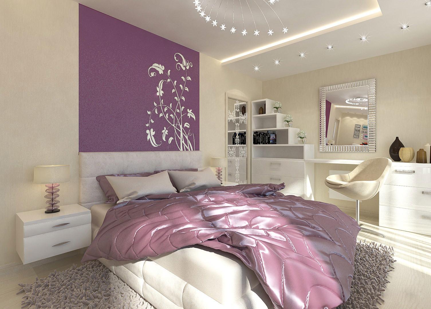 Дизайн спальни в сиреневых фиолетовых тонах дизайн