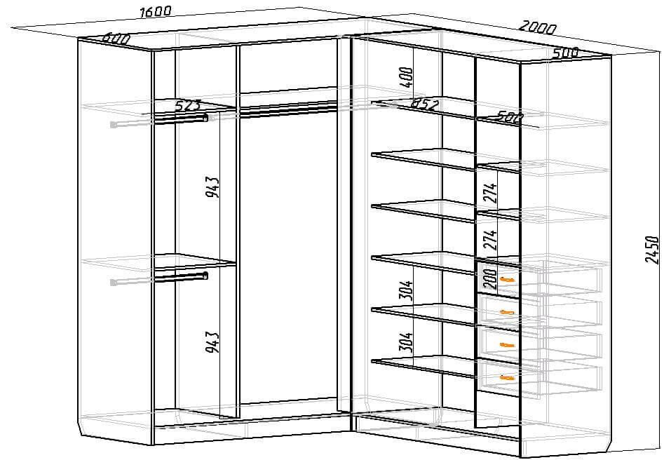 Встроенный угловой шкаф своими руками чертежи и схемы 936