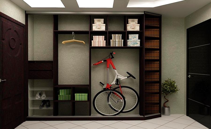 Дизайн встроенного шкафа купе для узкой прихожей
