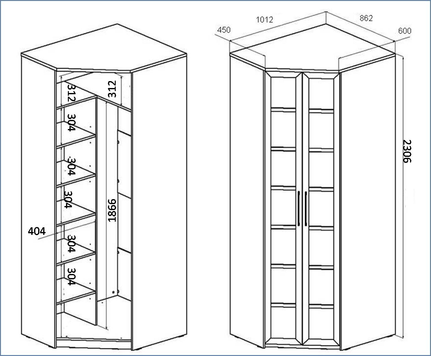 Небольшой шкаф купе схема