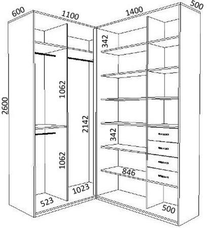 Схемы встроенных угловых шкафов купе