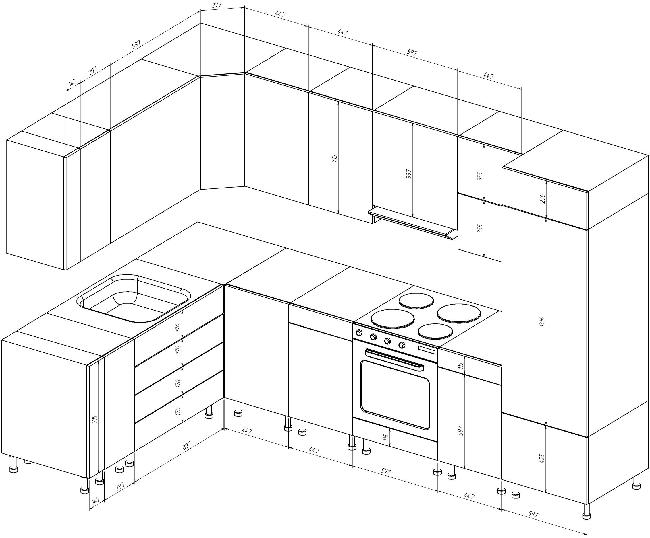 Чертежи и размеры кухонной мебели своими руками 87
