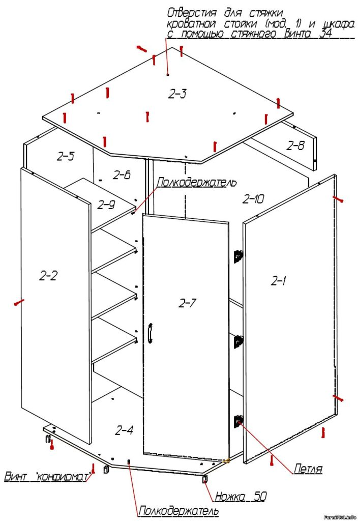 Фото и схема угловых шкафов