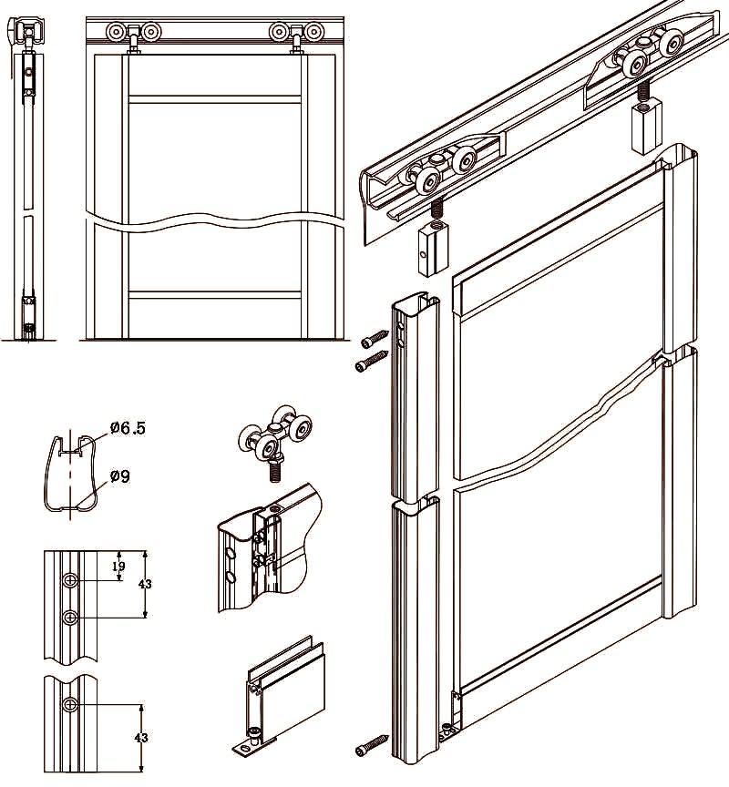 Схема сборки механизм дверей шкафа купе