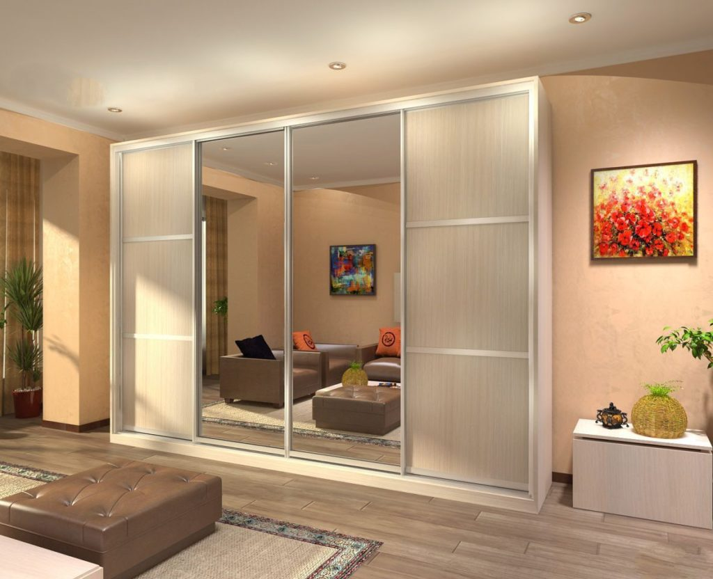 Шкаф купе в гостиную дизайн идеи беленый дуб